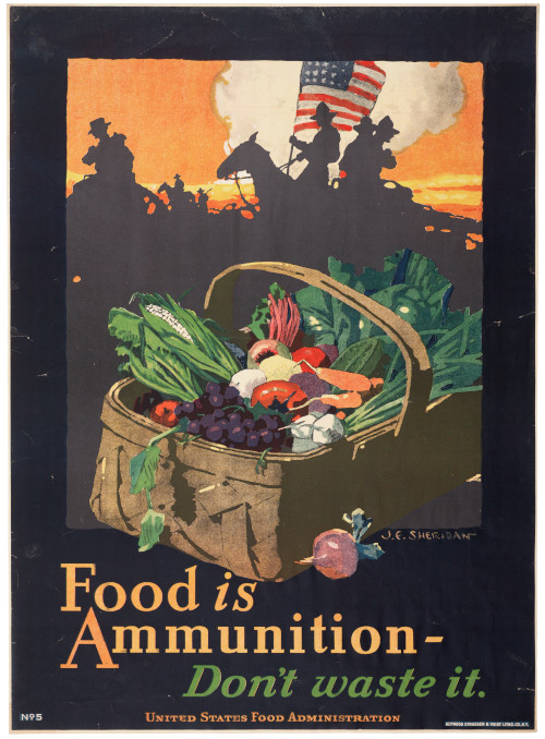U.S. Food Administration Poster from World War I, image of fruit and vegetables in a basket, text reads Food is ammunition - don't waste it.