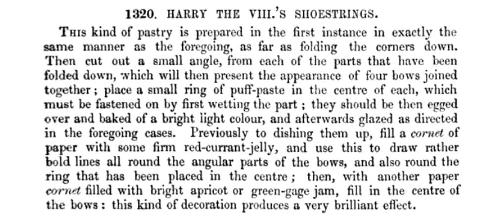 Original recipe for Harry the VIII's shoestrings.