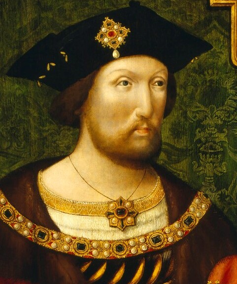 Portrait of King Henry the VIII wearing a jeweled brooch and necklace.