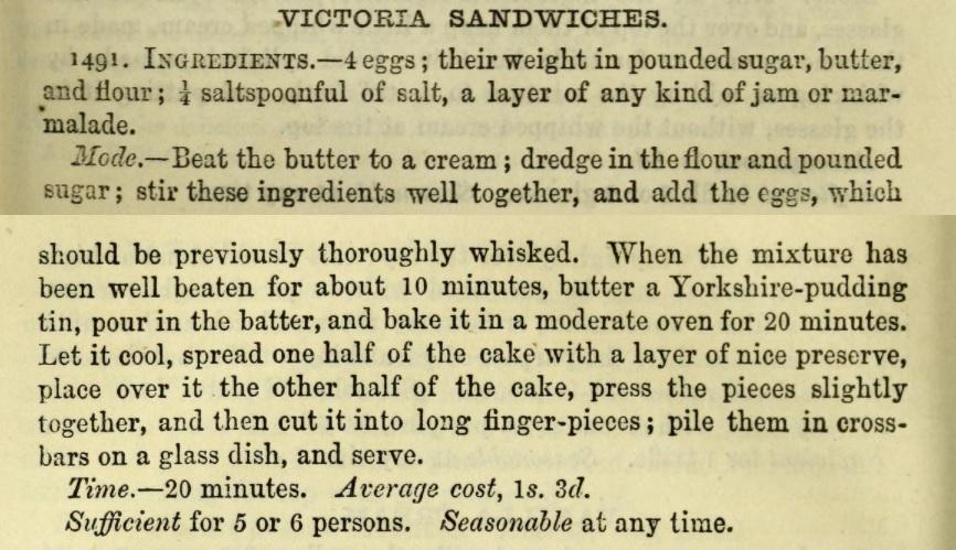 Isabella Beeton's original recipe for Victoria Sandwiches, 1861.
